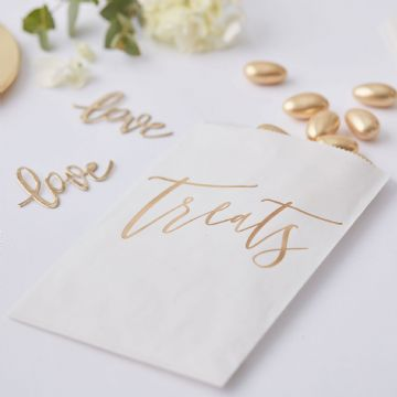 White & Gold Paper Treat Bags